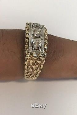 Vintage Huge! Men's 14k Yellow Gold 3 Diamond Cluster Band Ring Approx
