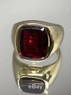 Vintage KSK 10k Yellow Gold Mens Ring Synthetic Ruby 8.9grams Size 9.25