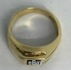 +++ Vintage MENS SAPPHIRE & DIAMOND Solitaire RING 14K SOLID GOLD 1 CTW +++