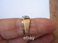 Vintage Magic Glo Solid 10K Yellow White Gold Diamond Mens Pinky Ring Size 10.25