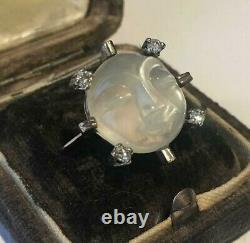 Vintage Man in the Moon Ring, Diamond Man in the Moon Ring, 18 Ct Moonstone ring