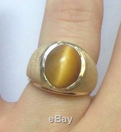 Vintage Mans 10k Yellow Gold Tigers Eye Chatoyant Ring Estate Unisex Mens