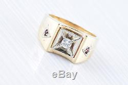 Vintage Mans 14k Y-Gold Belcher Diamond Ring with Ruby Accents FREE SHIPPING