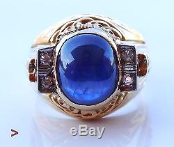 Vintage Men Ring solid 18K Yellow Gold 10.5 ct Sapphire Diamonds Size US10/13.4