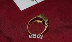 Vintage Men's 10K Gold Thick Yellow Gold Ring with Red Ruby Glass Stone Size 10