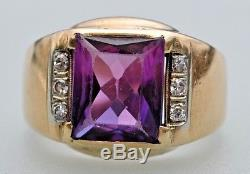 Vintage Men's 10K Yellow Gold AMETHYST Ring with 6 Diamonds Size 9.5 No Reserve