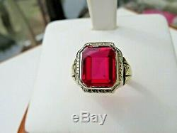 Vintage Men's 10K Yellow Gold Synthetic Ruby Ring 6.9 Grams Size 9 LAF