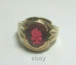 Vintage Men's 10k Yellow Gold 5.05 Ct Oval Synthetic Ruby Ring Sz 8