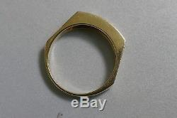 Vintage Men's 14K Yellow Gold Sapphire & Diamond Ring Size 10.5 By Exquisits