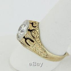 Vintage Men's 14k Yellow Gold 1.7ct Solitaire Diamond Ring withAppraisal-Size 9.25