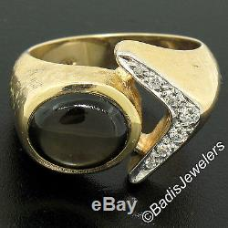 Vintage Men's 14k Yellow Gold Brown Star Sapphire Ring with. 22ctw Round Diamonds