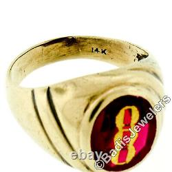 Vintage Men's 14k Yellow Gold Oval Red Stone Solitaire Ring with Gold Chain Inlay