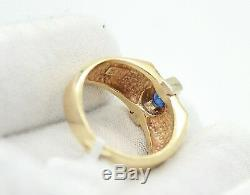 Vintage Men`s 14k Yellow Gold Sapphire Ring. Size 9 Resizable