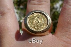 Vintage Men's 1945 2.5 Gold Peso 10kt Yellow Gold Ring Size 12