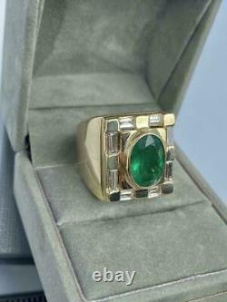 Vintage Men's 5.00ct Green Emerald & Diamond Ring In 18K Yellow Gold Over