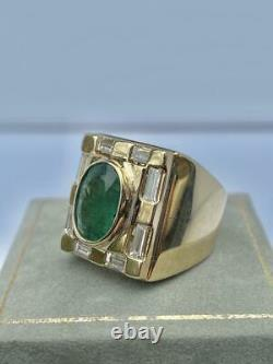 Vintage Men's 5.11ct Colombian Emerald & Diamond Ring in 18K Yellow Gold Over