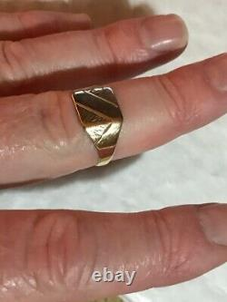 Vintage Men's 9ct Gold Signet Ring Weight 2.6g Stamped Ring Size U Quality