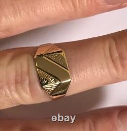 Vintage Men's 9ct Gold Signet Ring Weight 2.6g Stamped Ring Size V Quality