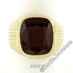 Vintage Men's Grooved 14k Yellow Gold Bezel Cushion Red Garnet Solitaire Ring