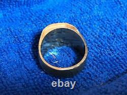 Vintage Men's Ring 18k 750 Yellow Gold approximately 20mm size 10.5.11.5 etched