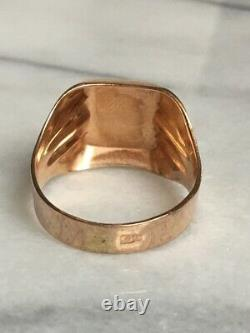 Vintage Men's Russian 14k Yellow Gold Signet Ring Size 11.5