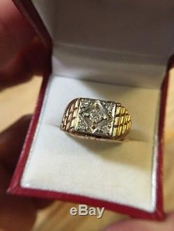 Vintage Men's Solid 10k Yellow Gold & Diamonds Ring Sz 9 8.3g 1/4+ Tcw