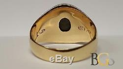 Vintage Men's Solid 14K Yellow Gold Black Sapphire Ring Size 11.5 FREE S&H