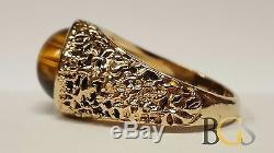 Vintage Men's Solid 14K Yellow Gold Tiger's Eye Nugget Ring Size 12 FREE S&H