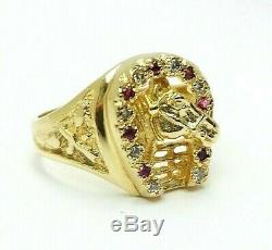 Vintage Men's Solid 18k Gold Lucky Horse Horseshoe Ring 9.9 grams Size 11