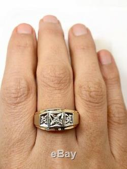 Vintage Mens 10K Solid Yellow Gold 0.18 Ct Natural Diamond Signet Ring Size10.25