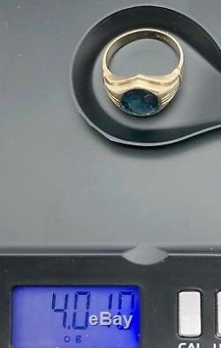 Vintage Mens 10K Solid Yellow Gold 4.2ct Blue Green Oval Topaz Ring sz. 8 3/4
