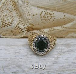 Vintage Mens 10K Yellow Gold Faceted Black Onyx Diamond Nugget Design Ring 11.75