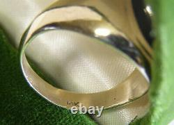 Vintage Mens 10 Kt Yellow Gold Ring With Onyx & Diamond Chip 6.5 Gr Size 10.75