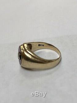 Vintage Mens 10k Gold Ruby And Diamond Band Ring Heavy 8.1