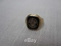 Vintage Mens 10k Yellow Gold Blank Onyx American Legion Ring Size 9 3/4