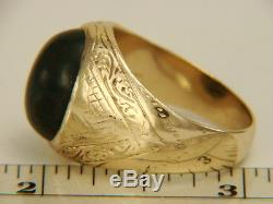 Vintage Mens 14K Yellow Gold 8.33cts Bloodstone Cabochon Ring 12.0 gms Size 10.7