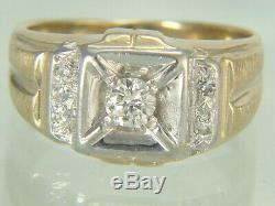 Vintage Mens 14K Yellow Gold Natural Diamond Ring 11.8 gms Size 9.25