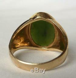 Vintage Mens 14k Gold Large Jade Solitaire Ring Brushed Textured MountingSz 10