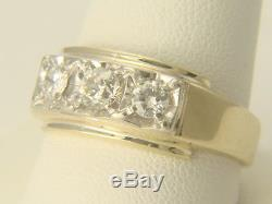 Vintage Mens 14k Yellow Gold 3 Stone. 82cts Diamond Ring 6.6 gms Size 11.5