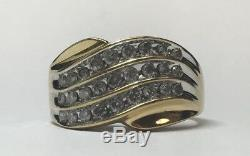 Vintage Mens 14k Yellow Gold Diamond Cluster Ring Mans Casino Band Size 11.75