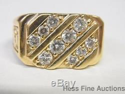Vintage Mens 14k Yellow Gold Genuine Diamond Approx. 75ctw Nugget Diagonal Ring