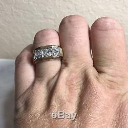 Vintage Mens 14k Yellow Gold Pave Diamond Ring Size 9.75 VS. 85 ctw (6.7gr)