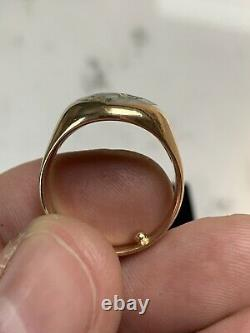 Vintage Mens 14k ring gold in quartz 11 grams gold bearing quartz, agate, nugget