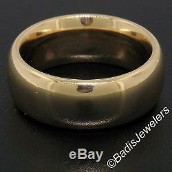 Vintage Mens 18K Rosy Yellow Gold Heavy Wide 7.9mm Comfort Fit Wedding Band Ring
