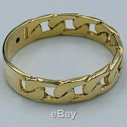Vintage Mens 9ct Yellow Gold Curb Link Diamond Set ID Bracelet Style Ring sz Z+1
