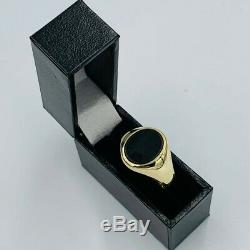 Vintage Mens 9ct Yellow Gold Oval Onyx Set Ring sz T # 714