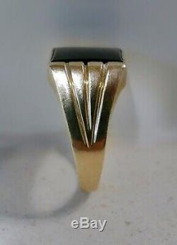 Vintage Mens Art Deco Design Solid Gold Ring With Black Onyx, Marked 9ct JEM