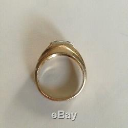 Vintage Mens Diamond Ring 14k Gold Solitaire size 9 1/2 quality