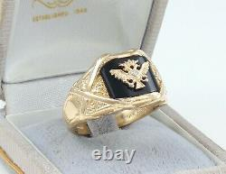 Vintage Mens Gents 14Ct Gold Onyx & Diamond Double Headed Eagle Signet Ring