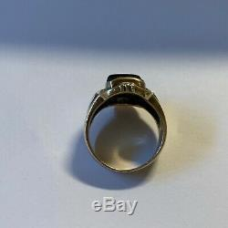 Vintage Mens Gold Ring Onyx With Diamonds Size 9 3/4